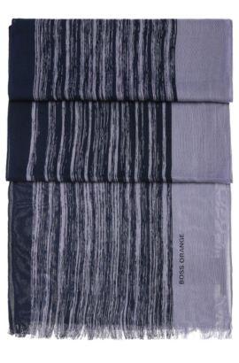 Chal a rayas en mezcla de algodón ligero: 'Nabril-1', Azul oscuro