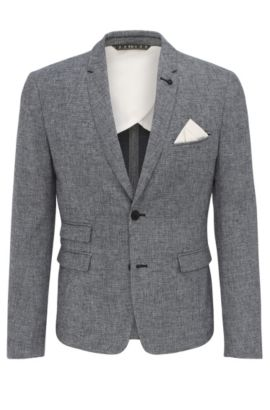 Blazer slim fit in misto cotone con lino: 'Baem_BS', Blu scuro