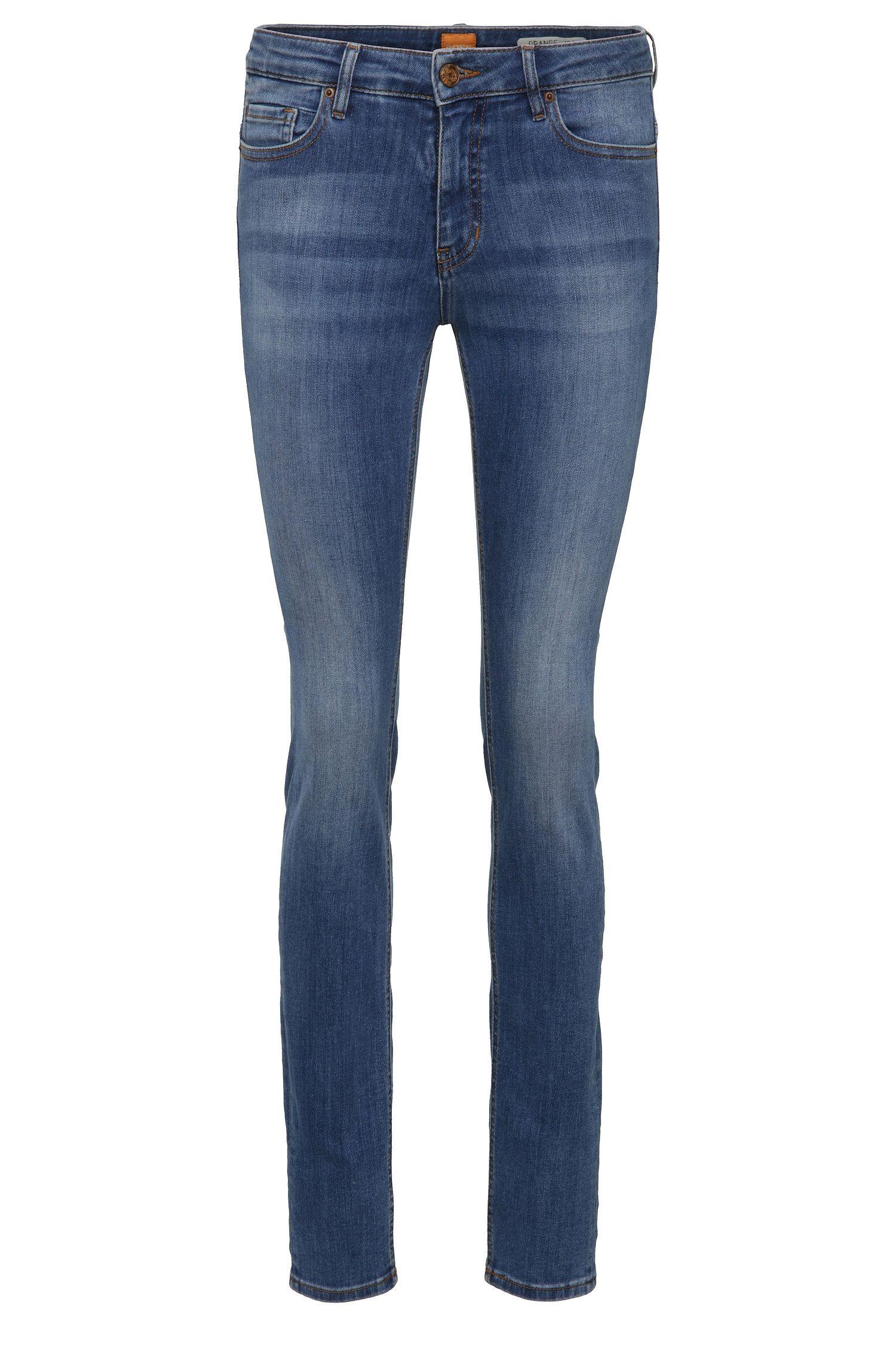 Slim-fit jeans in stretch cotton blend in used look: 'Orange J20 Sidney'