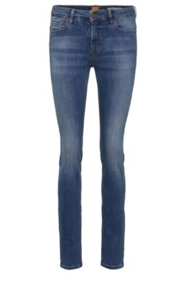 Slim-Fit Jeans aus elastischem Baumwoll-Mix im Used-Look: ´Orange J20 Sidney`, Blau