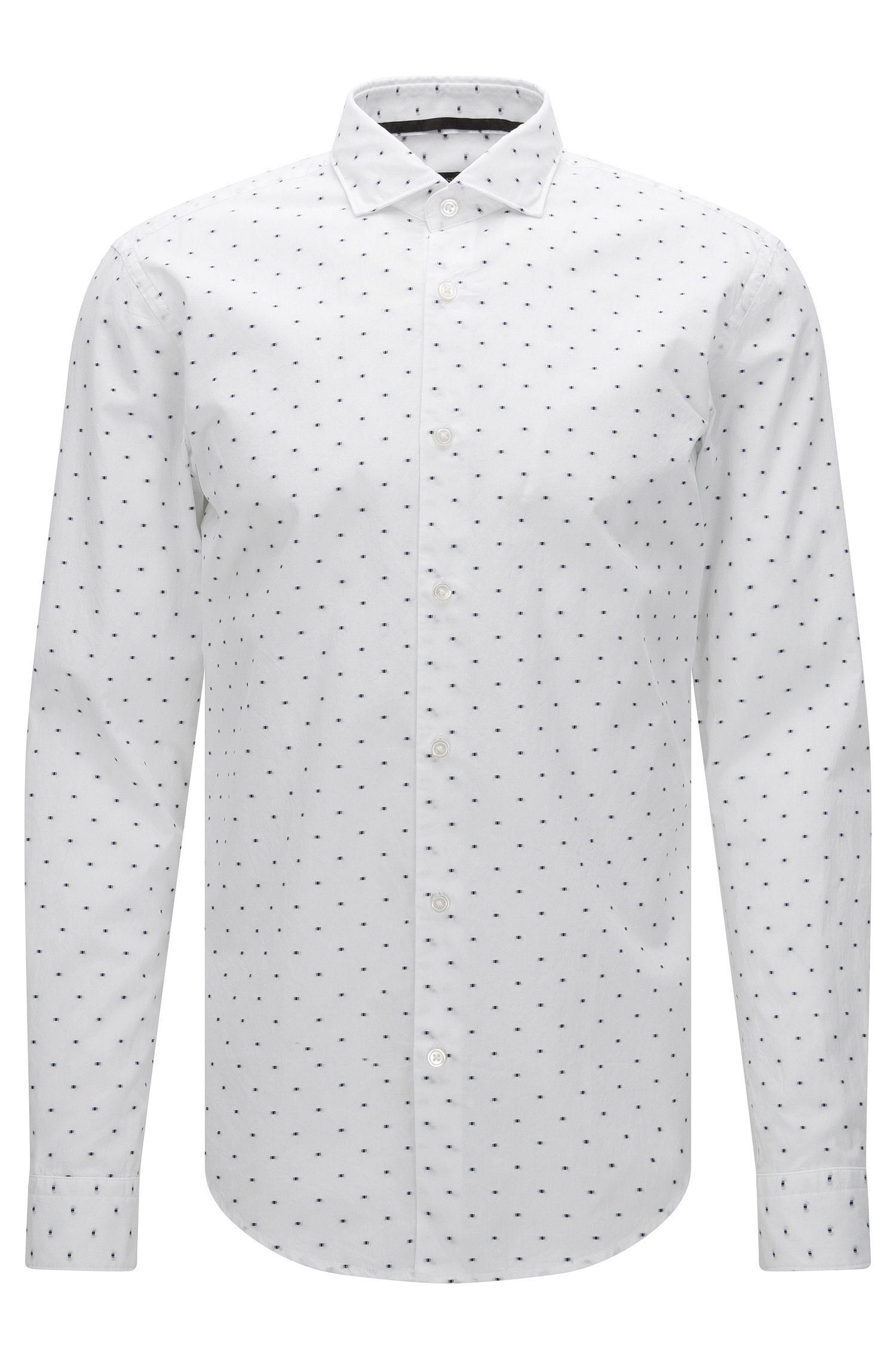 Camisa slim fit estampada en algodón con detalles bordados: 'Ridley_F'