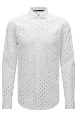 Patterned slim-fit shirt in cotton with embroidered details: 'Ridley_F', White