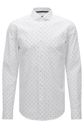Camicia slim fit a disegni in cotone con dettagli ricamati: 'Ridley_F', Bianco