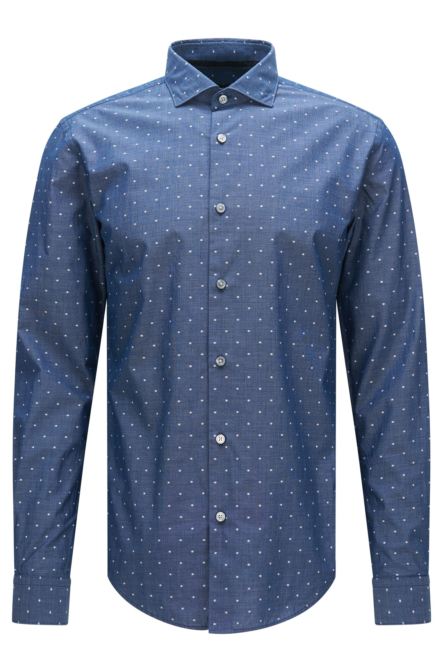 Patterned slim-fit shirt in cotton with embroidered details: 'Ridley_F'