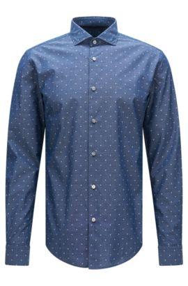 Camisa slim fit estampada en algodón con detalles bordados: 'Ridley_F', Azul oscuro