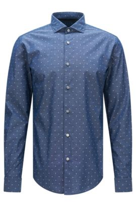 Patterned slim-fit shirt in cotton with embroidered details: 'Ridley_F', Dark Blue