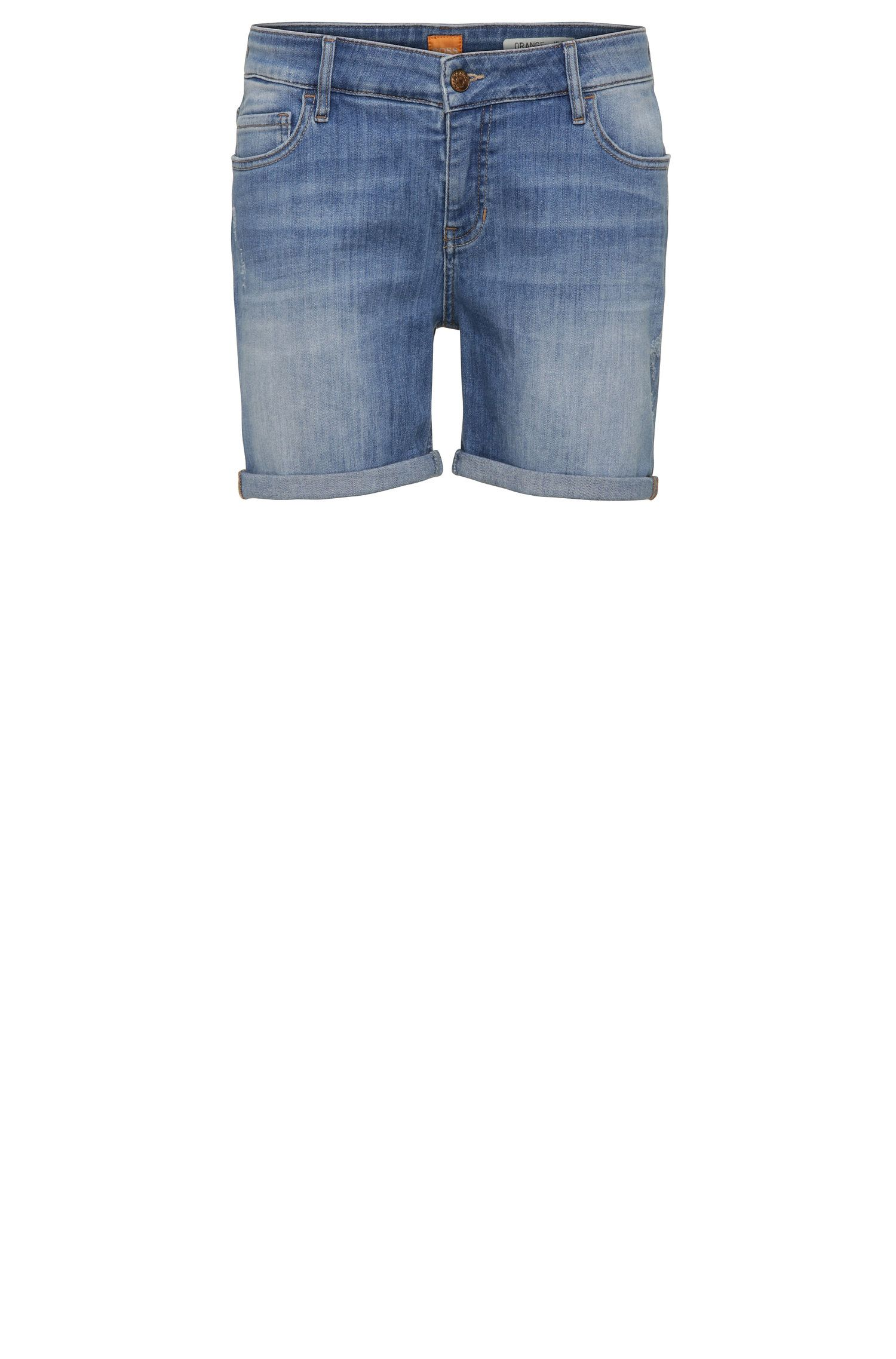 Relaxed-fit short van een elastische katoenmix in used-look: 'Orange J70 Hershey'
