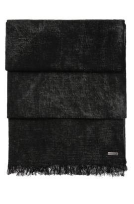 Patterned woven scarf in cotton blend with linen: 'Nuran', Black