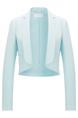 Open-cut short blazer in material blend with viscose: 'Jafyna', Turquoise