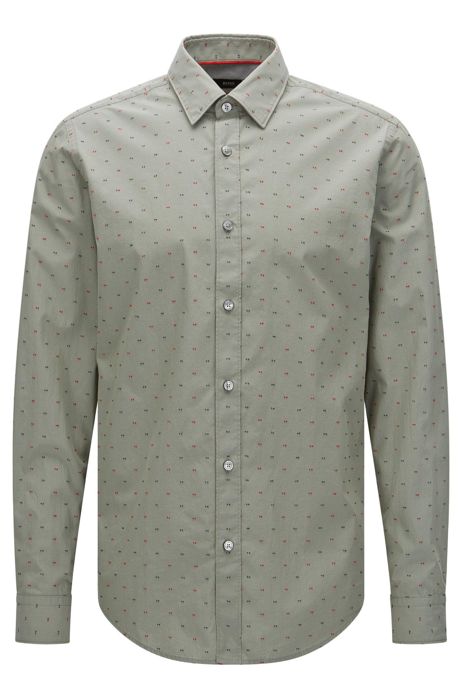 Regular-fit overhemd van katoen met stiksels: 'Lukas_40'