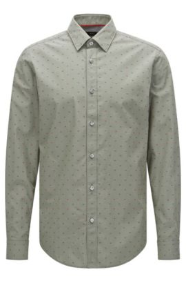 Camicia regular fit ricamata in cotone: 'Lukas_40', Verde