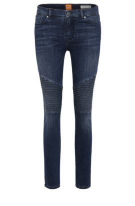 Cropped skinny-fit jeans in a stretchy cotton blend: 'Orange J10 Helena', Dark Blue