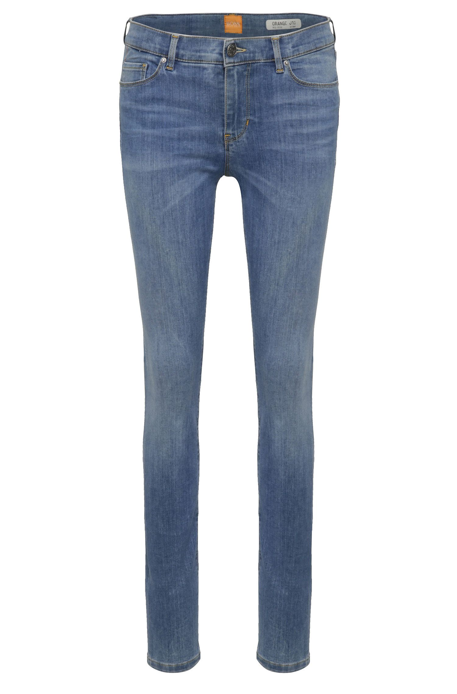 Faded skinny-fit jeans in a stretchy cotton blend: 'Orange J10'