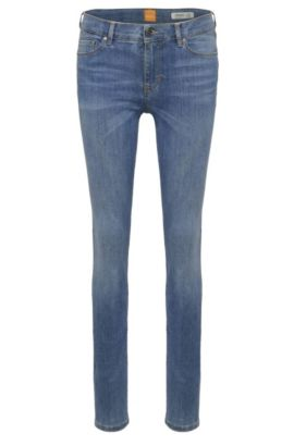 Faded skinny-fit jeans in a stretchy cotton blend: 'Orange J10', Blue