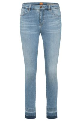 Skinny-fit jeans in a stretchy cotton blend in used look: 'Orange J11 Mariposa', Blue