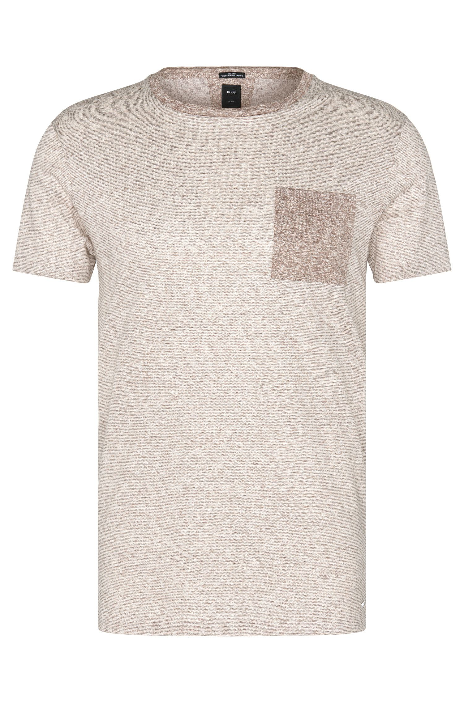 Slim-fit T-shirt uit de Tailored-collectie, van linnen met dessin: 'T-Tribel 24'
