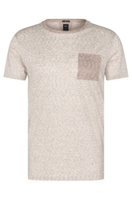 Slim-fit T-shirt uit de Tailored-collectie, van linnen met dessin: 'T-Tribel 24', Lichtbeige