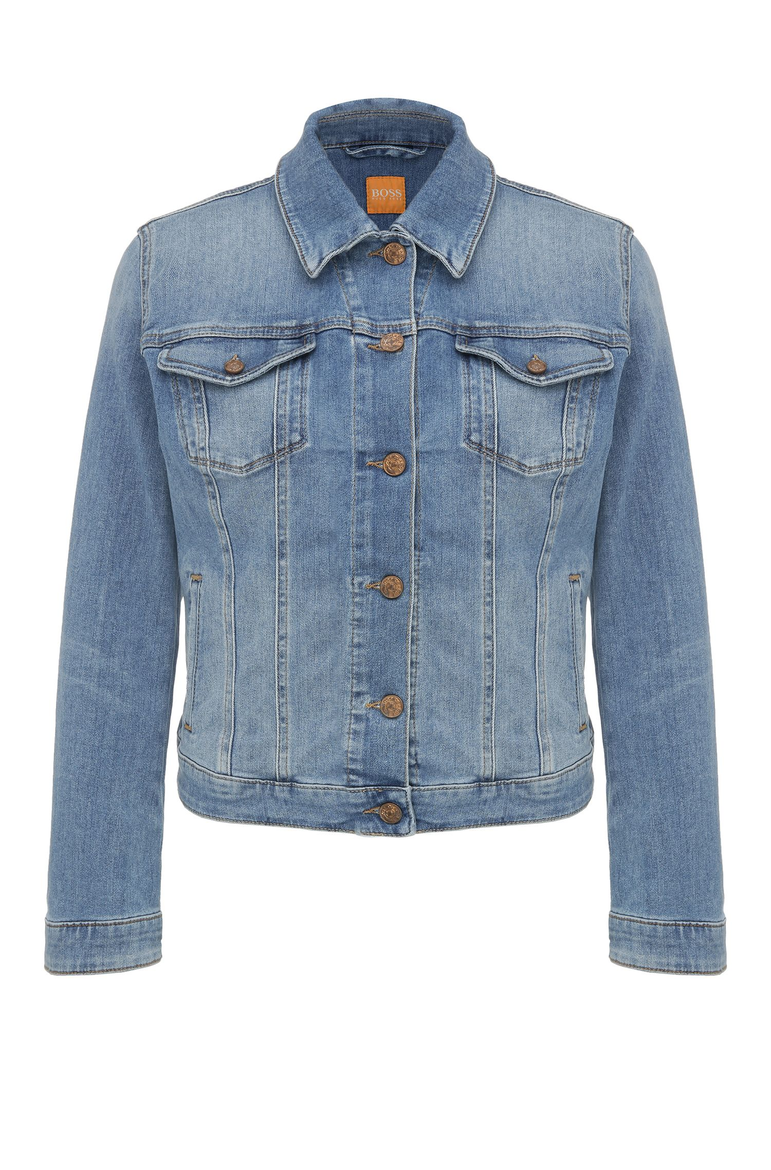 Regular-fit jeans jacket made from a cotton blend in a used look: 'Orange J90 Portland'