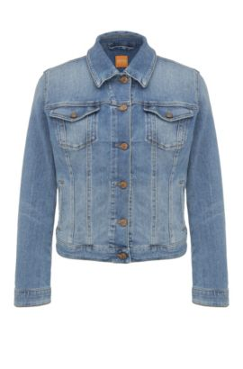 Regular-fit jeans jacket made from a cotton blend in a used look: 'Orange J90 Portland', Blue