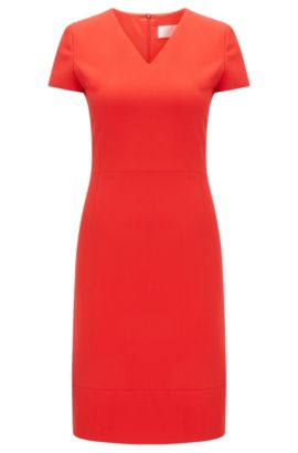 Vestido tubo con escote en pico: 'Demida1', Rojo