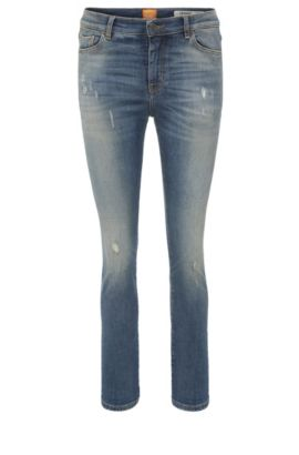 Slim-fit jeans in stretch cotton blend: 'Orange J21', Dark Blue