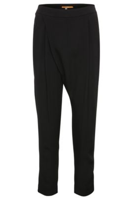 Regular-fit 7/8 suit trousers in material blend with viscose: 'Samilli', Black