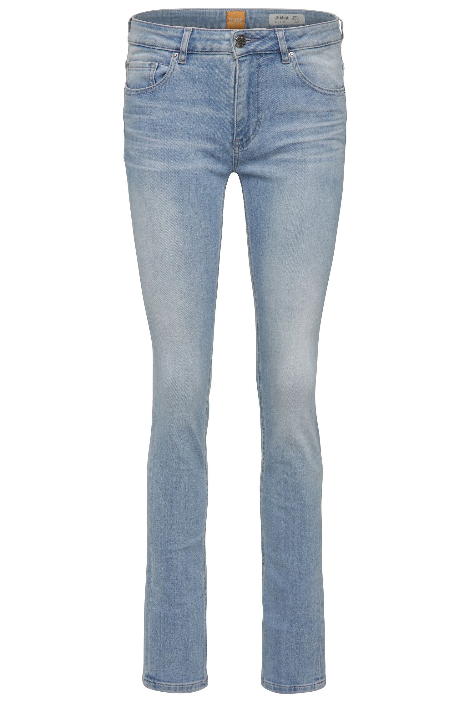 Slim-fit jeans van een elastische katoenmix in used-look: 'Orange J20 Sidney'