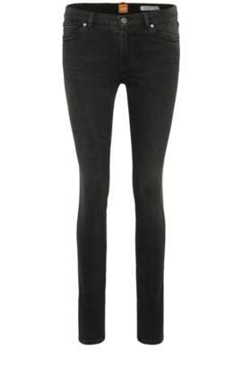 Skinny-fit jeans in a stretchy cotton blend: 'Orange J10', Black