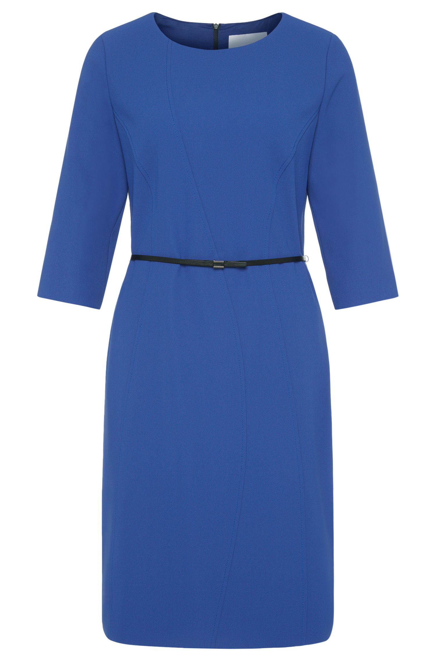 Plain sheath dress with belt: 'Hallia'