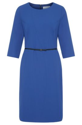 Plain sheath dress with belt: 'Hallia', Blue