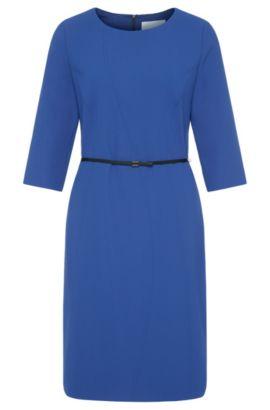 Effen nauwsluitende jurk met ceintuur: 'Hallia', Blauw