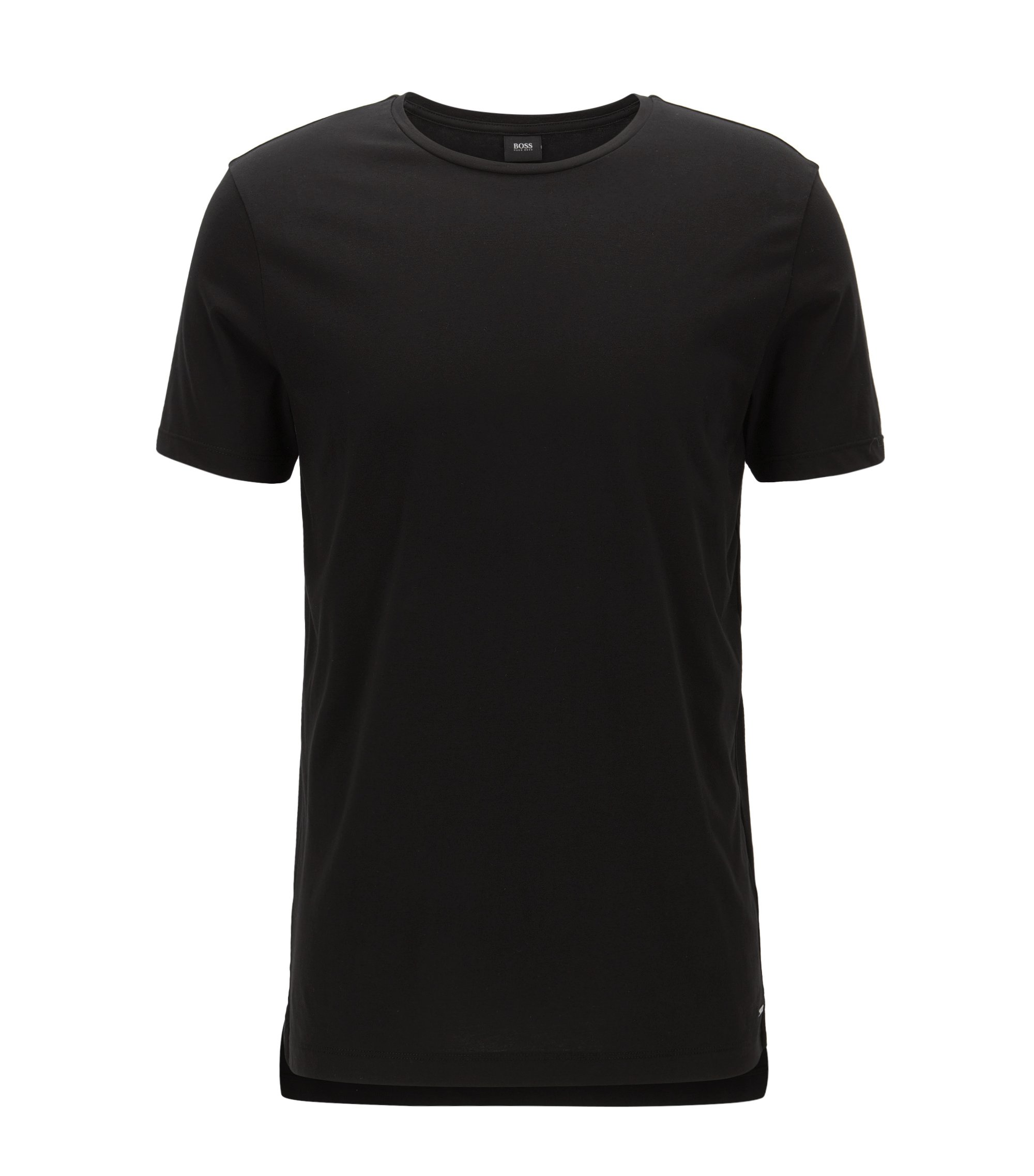 T-shirt slim fit in morbido jersey di cotone, Nero