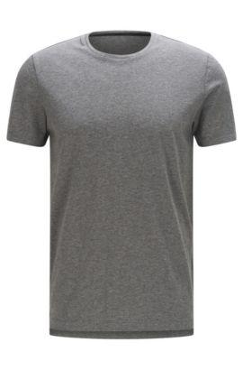 T-shirt slim fit in cotone in tinta unita: 'Tessler 51-WS', Grigio