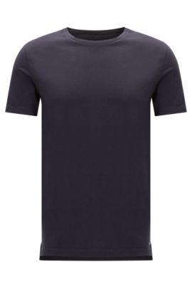 Effen slim-fit T-shirt van katoen: 'Tessler 51-WS', Donkerblauw