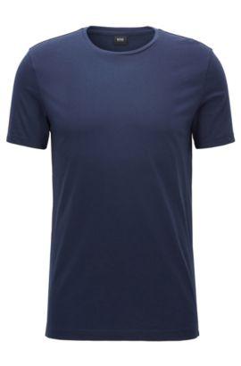 T-shirt Slim Fit en jersey de coton doux, Bleu foncé