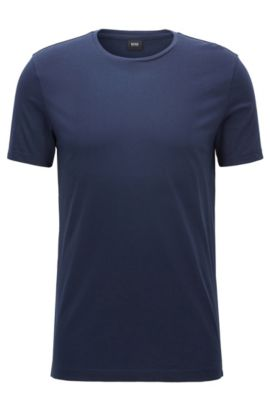 Slim-fit T-shirt in soft cotton jersey, Dark Blue
