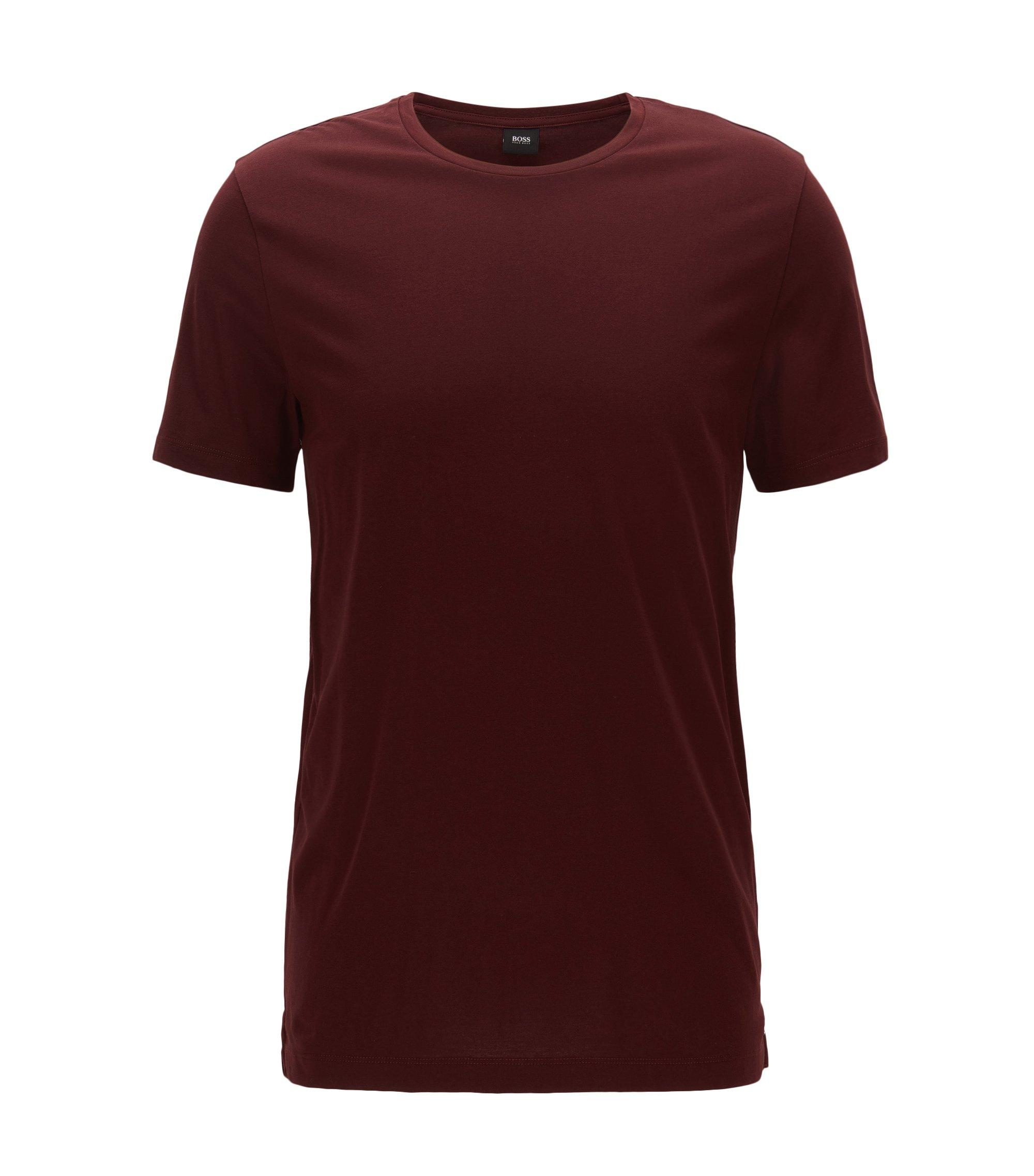 Slim-fit T-shirt van zachte katoenjersey, Donkerrood