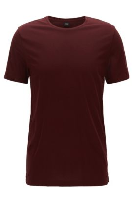 Slim-fit T-shirt in soft cotton jersey, Dark Red