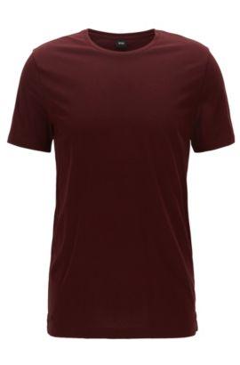Camiseta slim fit en punto de algodón suave, Rojo oscuro