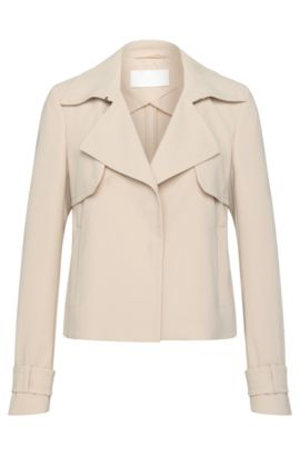 Short blazer with front yoke: 'Kallia', Light Beige