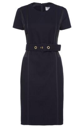Gestructureerde nauwsluitende jurk van een elastische katoenmix met viscose: 'Daebina', Donkerblauw