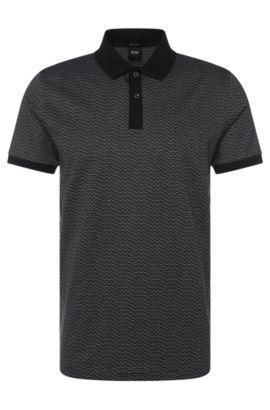 Gestreiftes Regular-Fit Poloshirt aus Baumwolle: 'Parlay 08', Schwarz