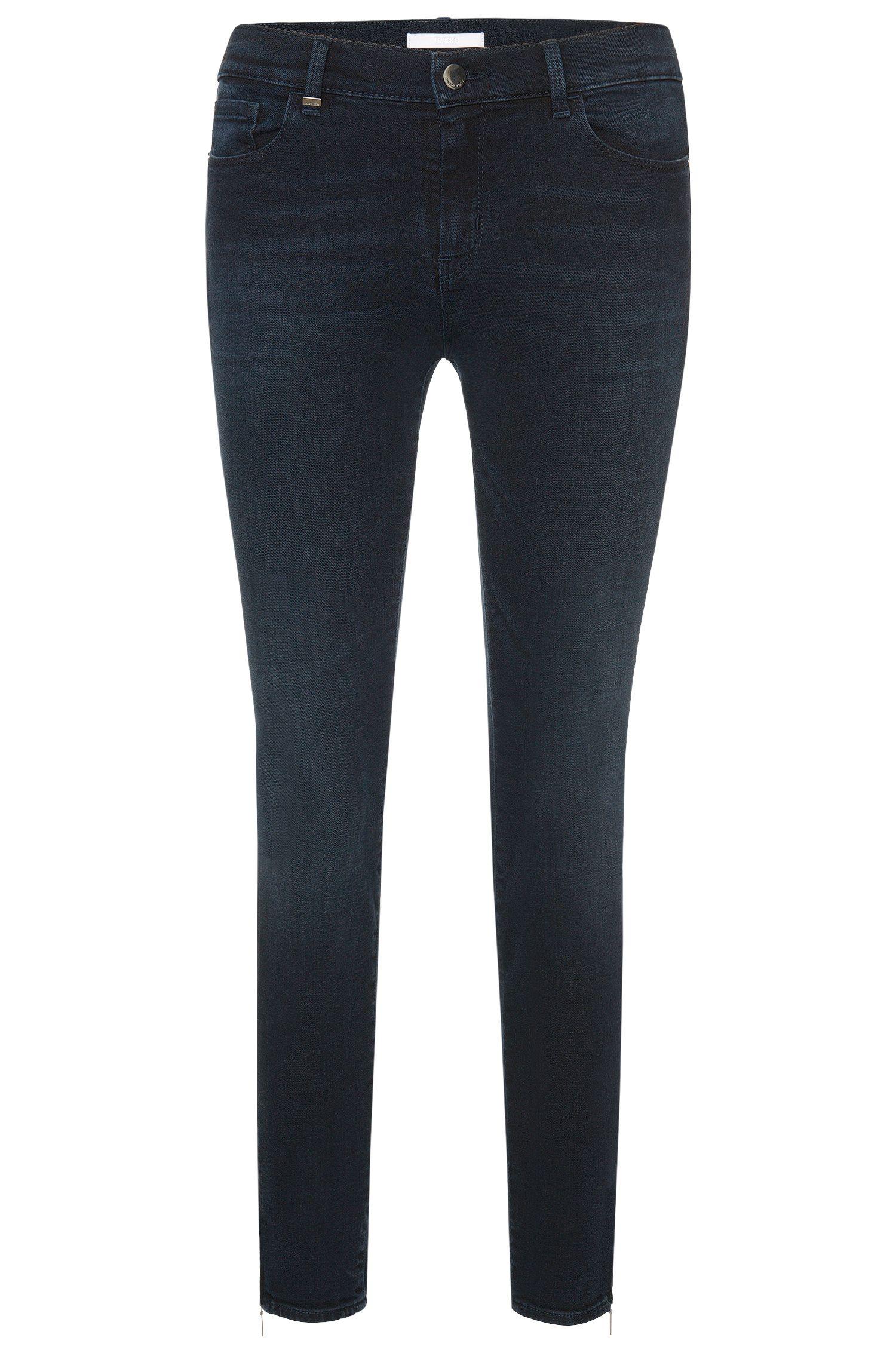 Jeans Slim Fit en coton mélangé de longueur raccourcie: «Nafice Zip»