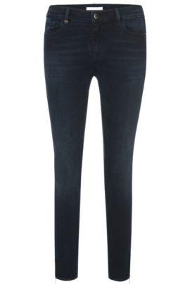 Jeans slim fit in misto cotone con lunghezza al polpaccio: 'Nafice Zip', Blu scuro