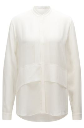 Figure-skimming silk blouse with a band collar: 'Ranenya', Natural