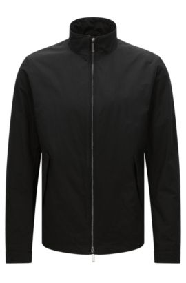 Water-repellent jacket with band collar: 'Calmar1', Black