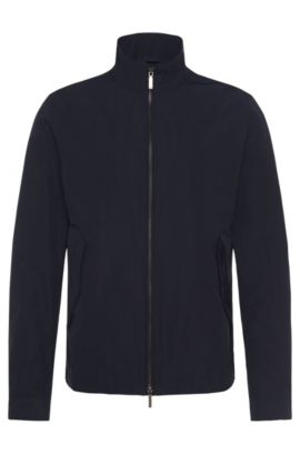 Water-repellent jacket with band collar: 'Calmar1', Dark Blue