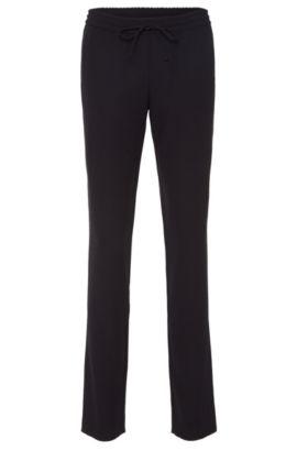 Pantalón liso en mezcla de materiales con cordón en la cintura: 'Aryna', Azul oscuro