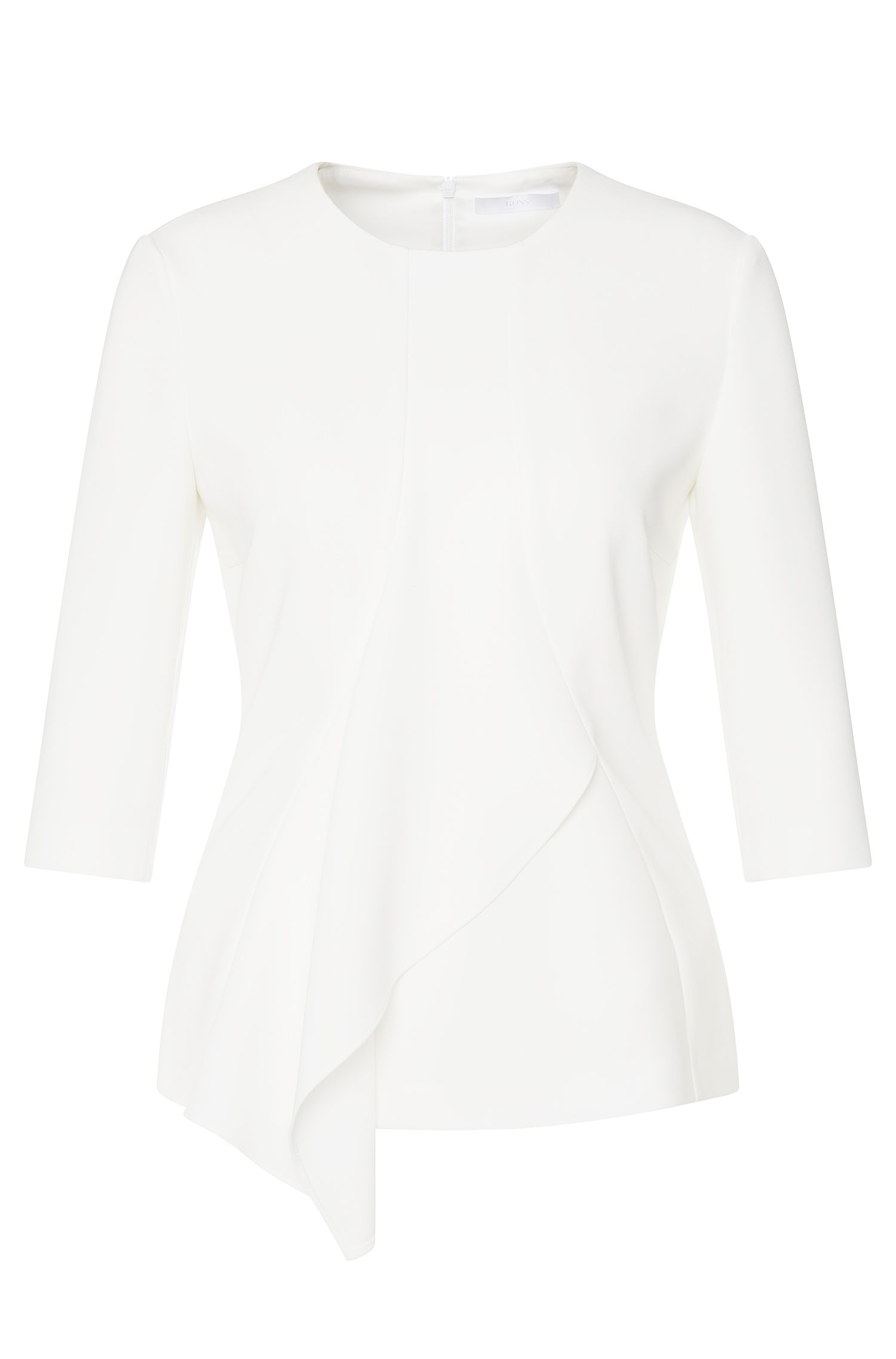 Top with 3/4-length sleeves and asymmetric flounced trim: 'Iluana'