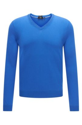 Unifarbener Slim-Fit Pullover mit V-Ausschnitt: 'Fabbert-O', Blau